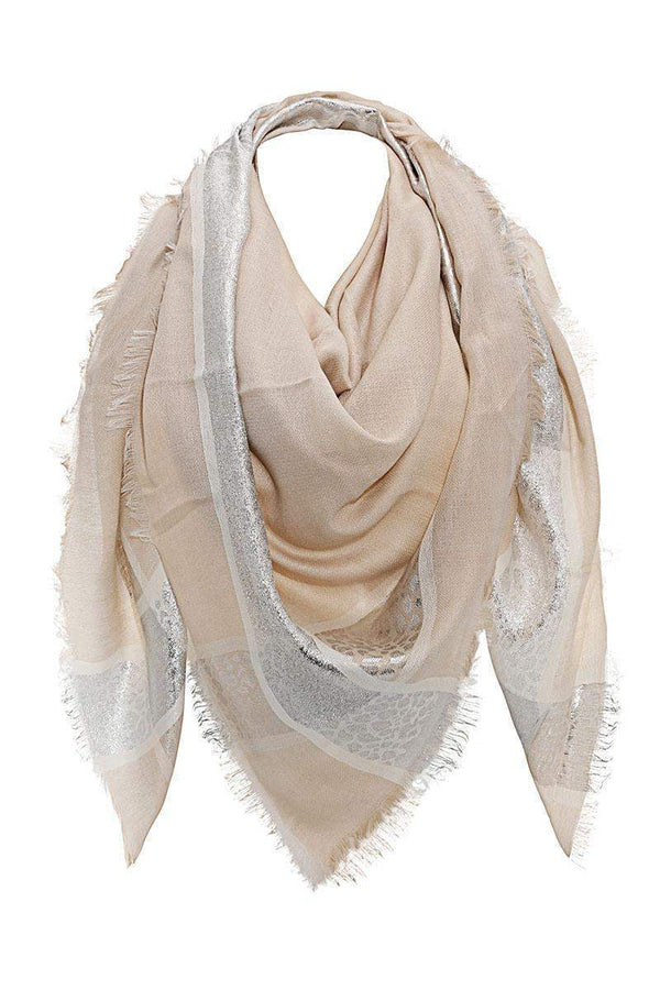 Foil Leopard Print Taupe Square Scarf-Single price