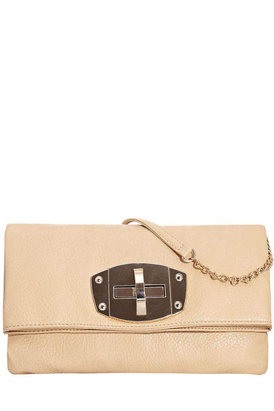 Foldable Two Part Beige Clutch-Single price