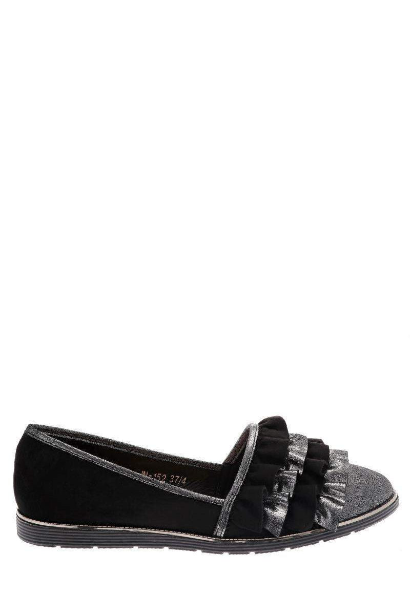 Frilled Black Flats-Single price