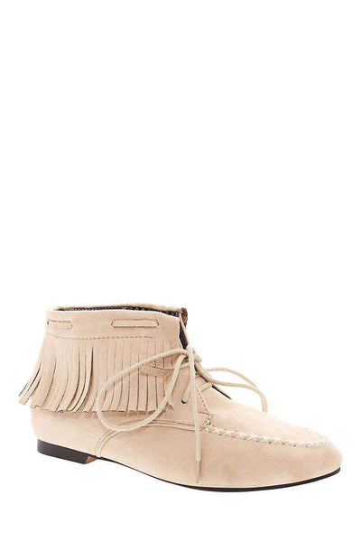 Fringe Beige Suede Moccasin Ankle Boots-Single price