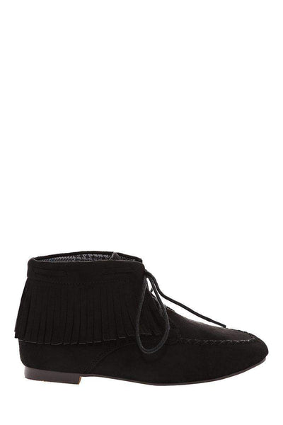 Fringe Black Suede Moccasin Ankle Boots-Single price