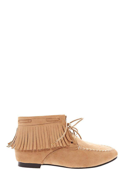 Fringe Camel Suede Moccasin Ankle Boots-Single price
