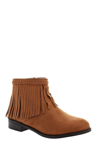 Fringe Flat Camel Ankle Boots-Single price