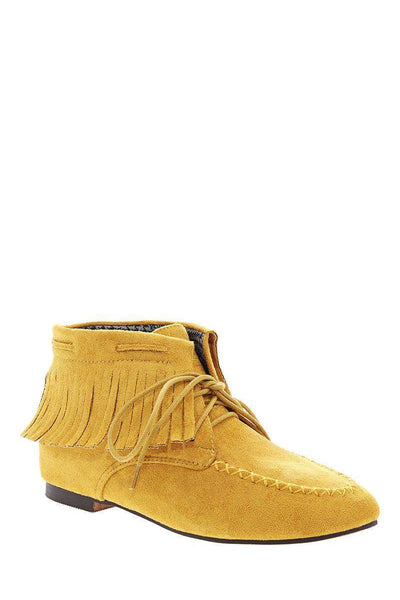 Fringe Yellow Suede Moccasin Ankle Boots-Single price