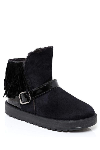 Fringed Fur Lined Short Winter Boots-SinglePrice