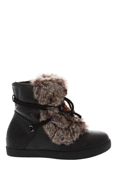 Fur Front Black Snow Boots-Single price