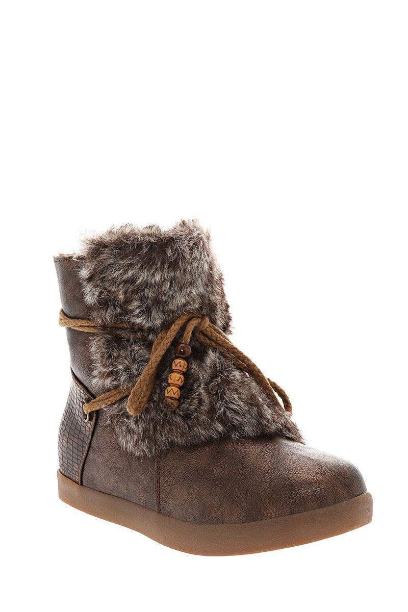 Fur Front Brown Snow Boots-Single price