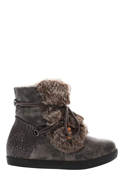 Fur Front Grey Snow Boots-Single price