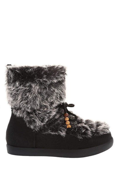 Fur Top Black Snow Boots-Single price