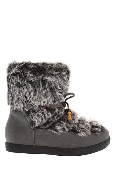 Fur Top Grey Snow Boots