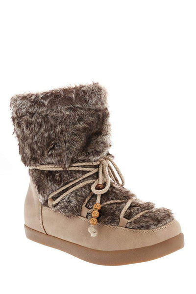 Fur Top Khaki Snow Boots-Single price