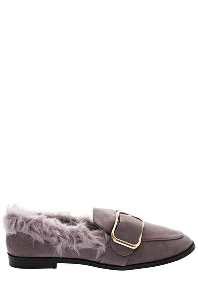 Fur Trim Grey Flats-Single price