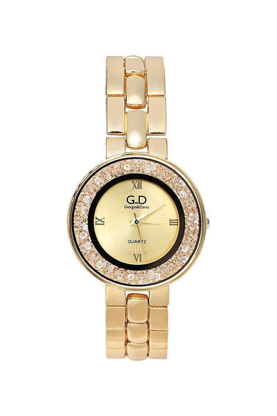 Gold Band Gold Diamante Dial Watch-SinglePrice