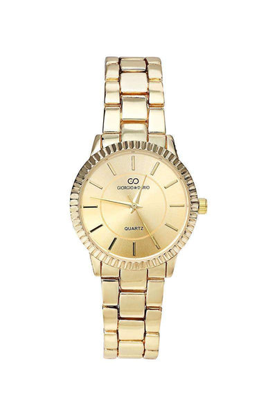 Gold Band Ribbed Gold Dial Watch-SinglePrice