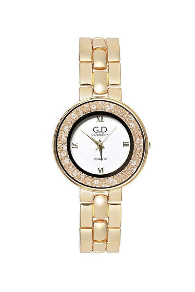 Gold Band White Diamante Dial Watch-SinglePrice