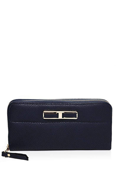 Gold Bow Front Navy Purse-SinglePrice