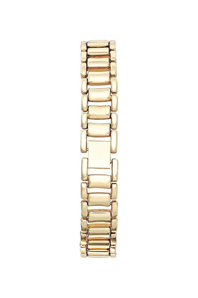 Gold Bracelet Black Dial Half Encrusted Diamante Watch-SinglePrice