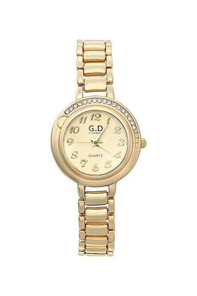 Gold Bracelet Gold Dial Half Encrusted Diamante Watch-SinglePrice