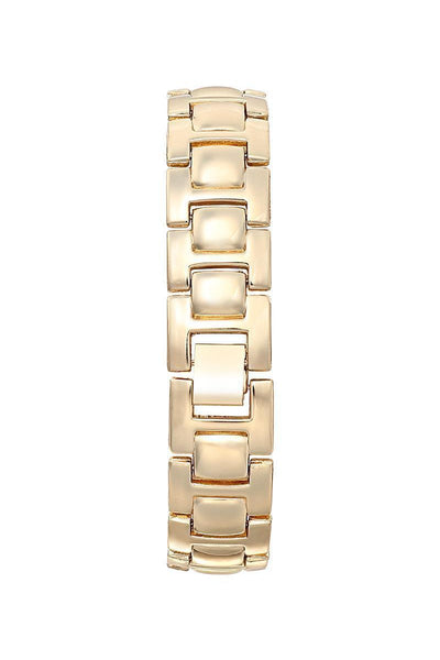 Gold Bracelet Silver Dial Diamante Circle Watch-SinglePrice