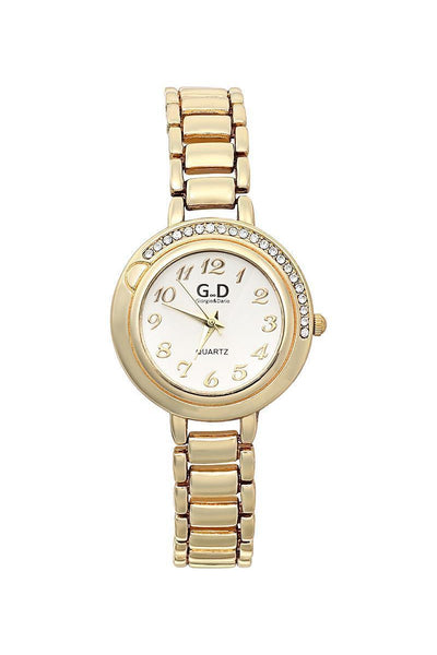 Gold Bracelet Silver Dial Half Encrusted Diamante Watch-SinglePrice