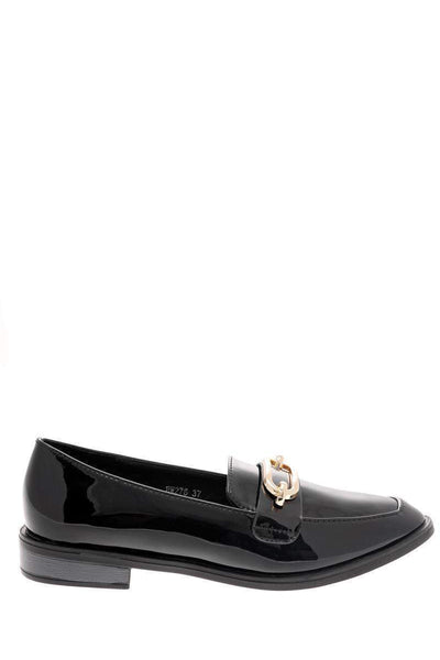 Gold Buckle Black Loafer Shoes-Single price