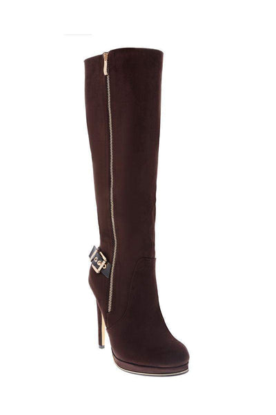 Gold Buckle Brown Knee High Platform Boots-Single price