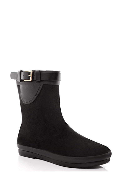 Gold Buckle Detail Black Welly Boots-SinglePrice