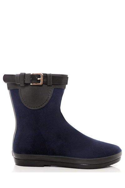 Gold Buckle Detail Navy Welly Boots-SinglePrice