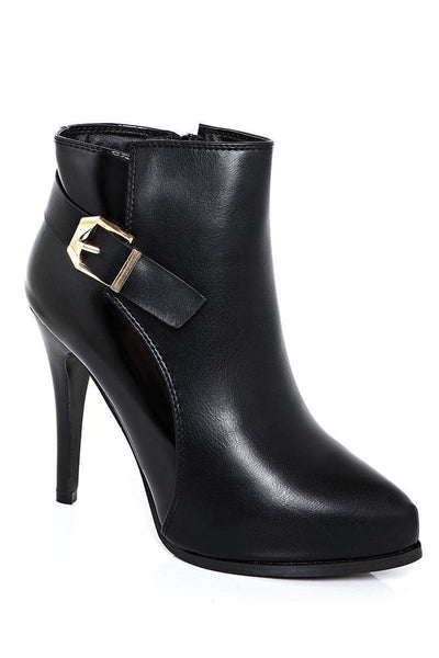 Gold Buckle Double Finish Black Ankle Boots-SinglePrice