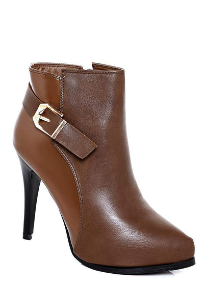 Gold Buckle Double Finish Khaki Ankle Boots-SinglePrice