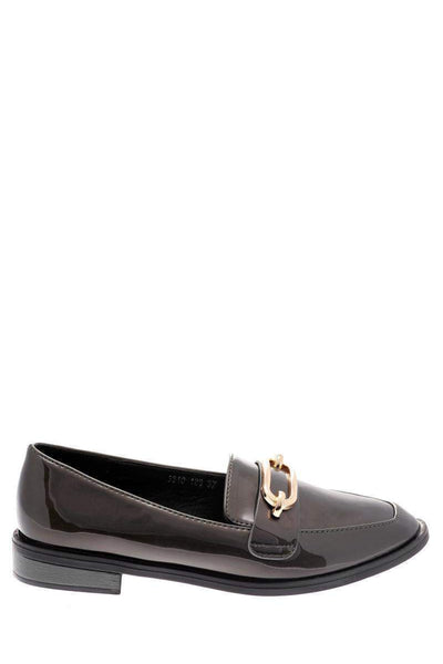 Gold Buckle Grey Loafer Shoes-Single price