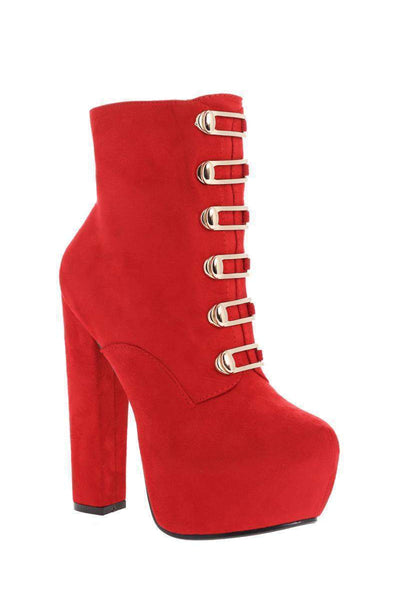 Gold Buckles Hidden Platform Red Boots-Single price