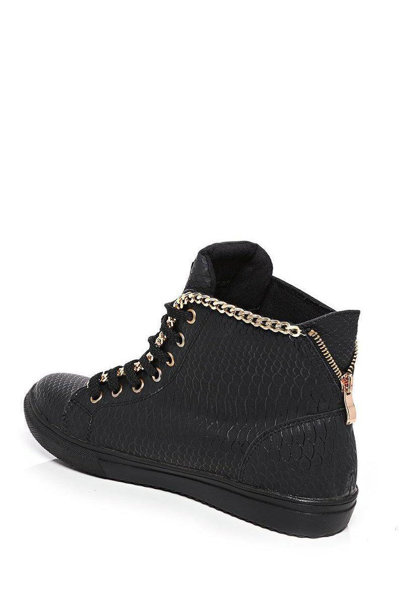 Gold Chain Trim Snake Effect Black Trainers-SinglePrice