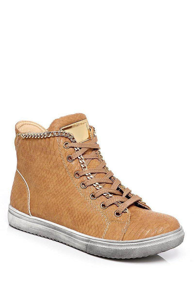 Gold Chain Trim Snake Effect Camel Trainers-SinglePrice