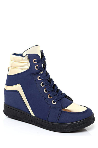 Gold Details Blue Hidden Wedge Trainers-SinglePrice