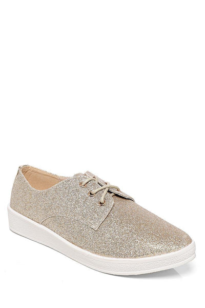 Gold Glitter Flat Shoes-SinglePrice