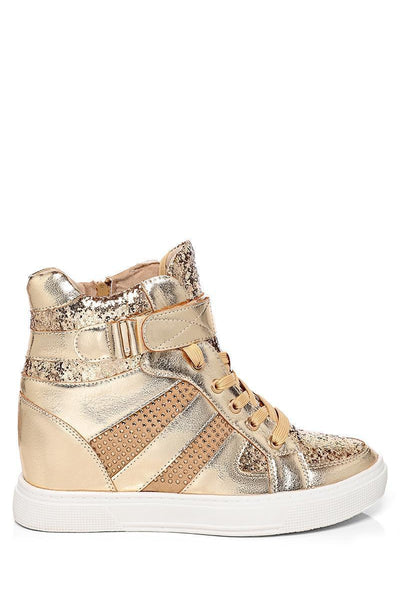 Gold Glitter Hidden Wedge Trainers-SinglePrice
