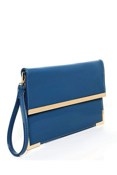 Gold Metal Trim Blue Clutch-SinglePrice