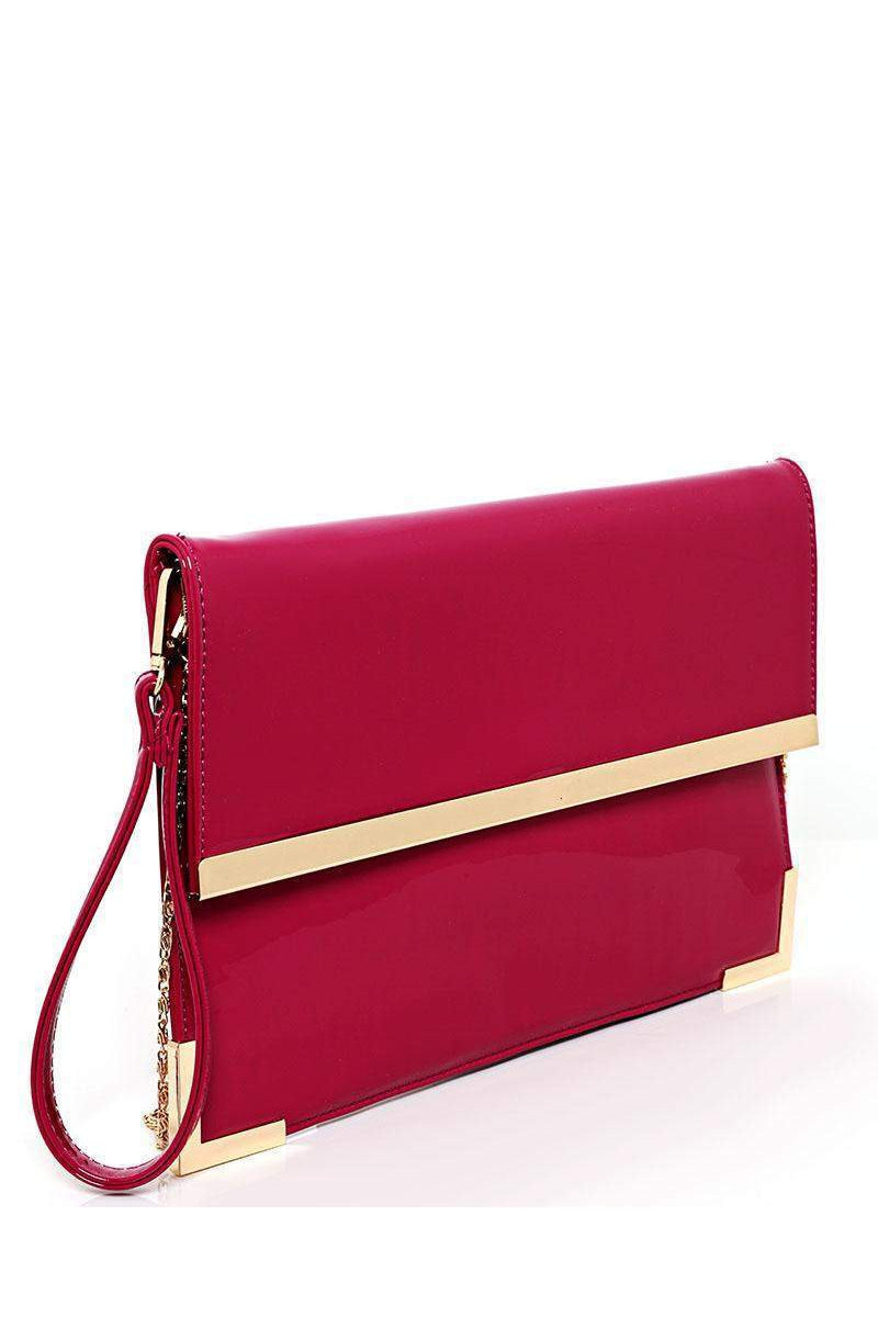 Gold Metal Trim Violet Clutch-SinglePrice
