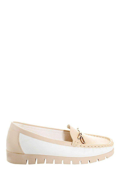 Golden Front Bar Beige Moccasins-Single price