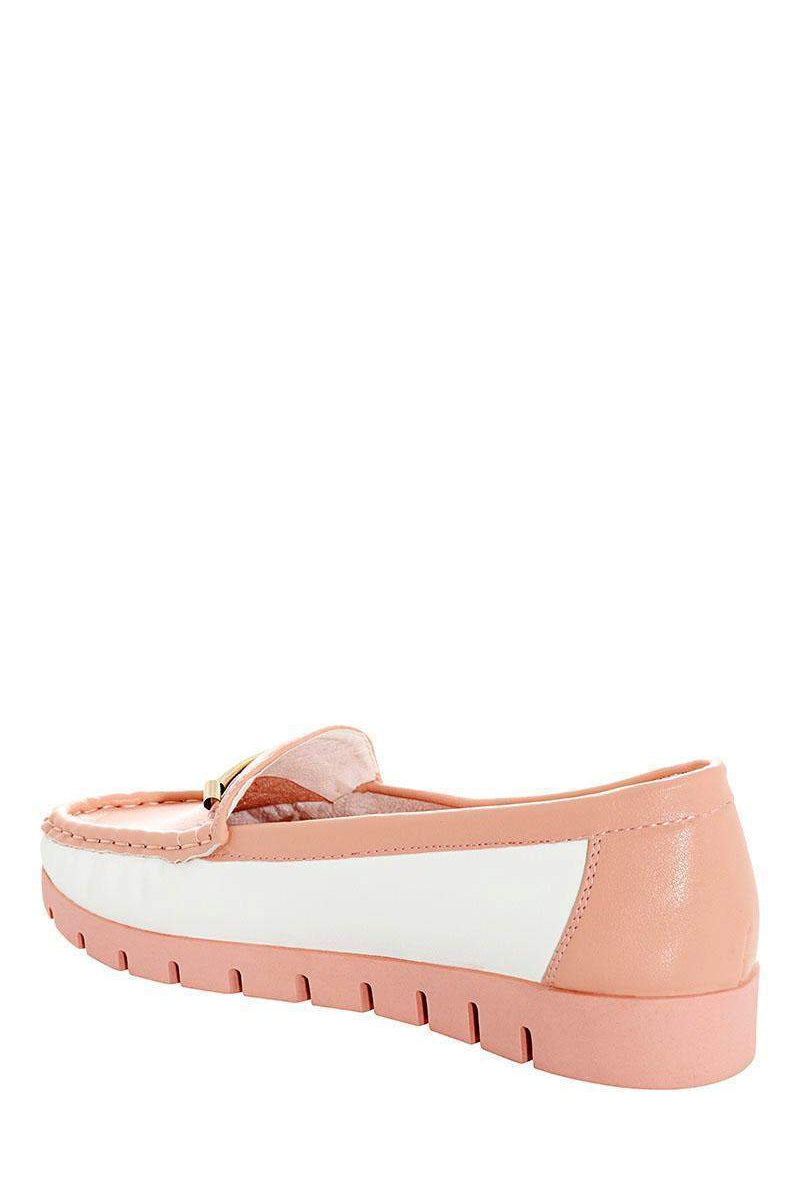 Golden Front Bar Pink Moccasins-Single price