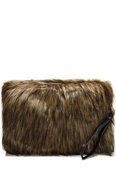 Green Faux Fur Large Clutch-SinglePrice