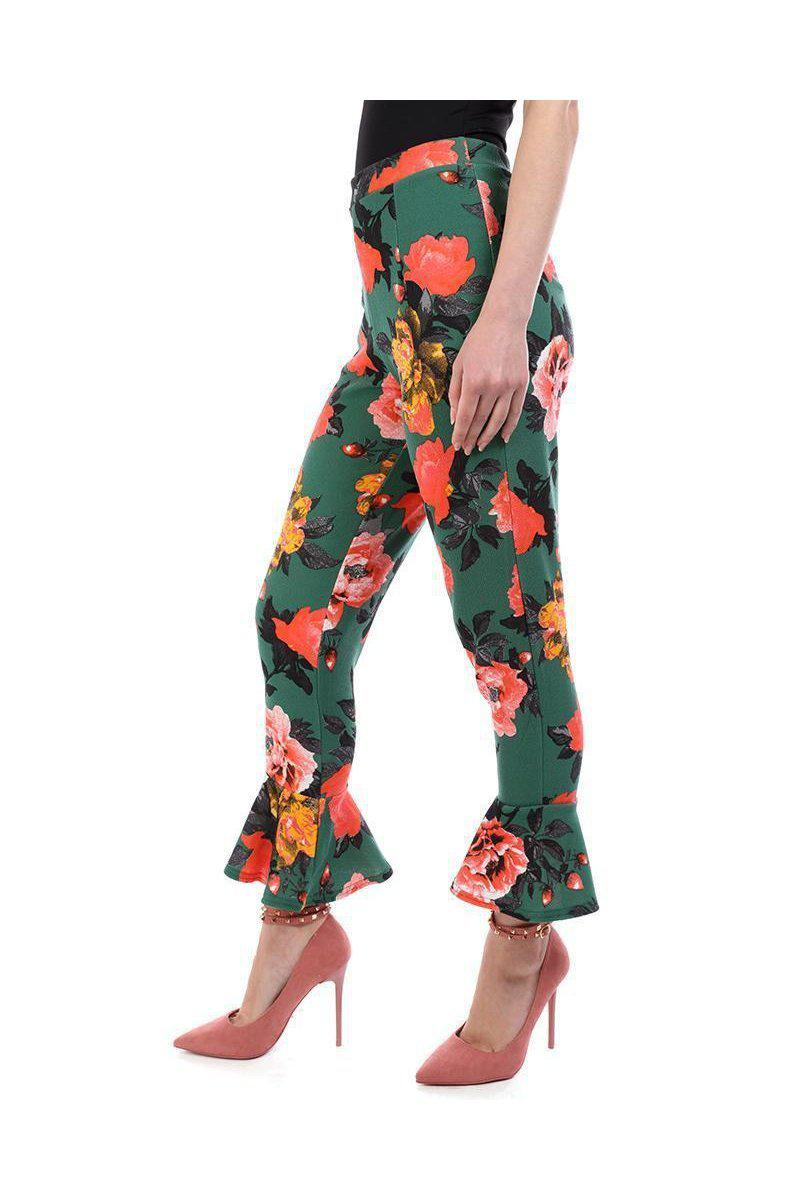Green Frill Hem Cropped Trousers - SinglePrice