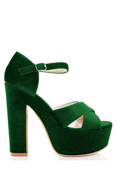 Green Velvet Platform Sandals-Single price