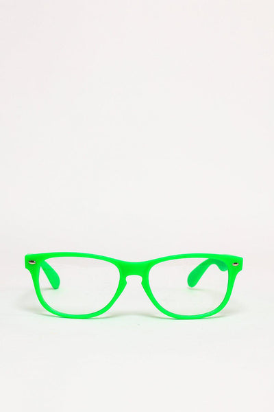 Neon Green Frame Clear Lens Glasses-SinglePrice