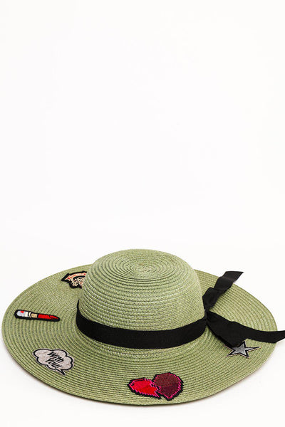 Badges Embellished Green Summer Hat-SinglePrice