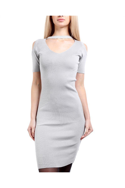 Grey Cold Shoulder Knitted Choker Dress-SinglePrice
