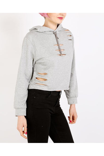 Grey Cropped Ripped Hoodie-SinglePrice