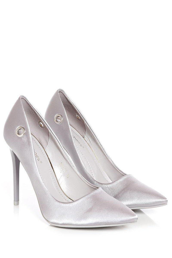 Grey Lace Up Satin Heels - SinglePrice