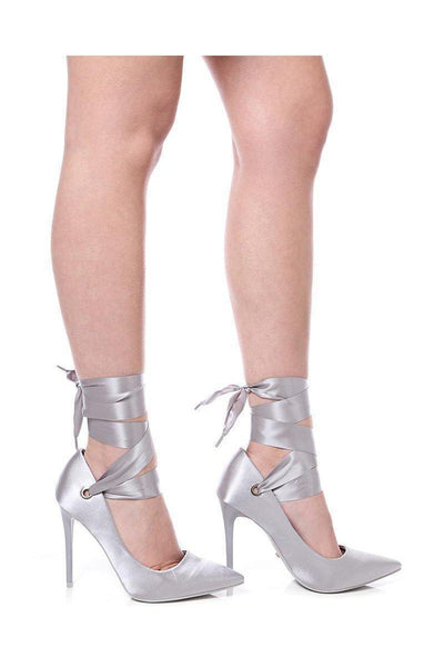 Grey Lace Up Satin Heels-SinglePrice